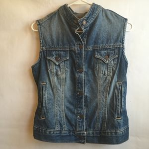 LEVI'S JEANS VEST WITH BAND COLLAR